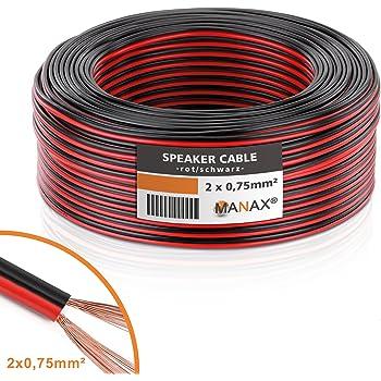 MANAX–Cavo per altoparlante Box cavo 2x 0,75mm² CCA rosso/nero 25m ruolo