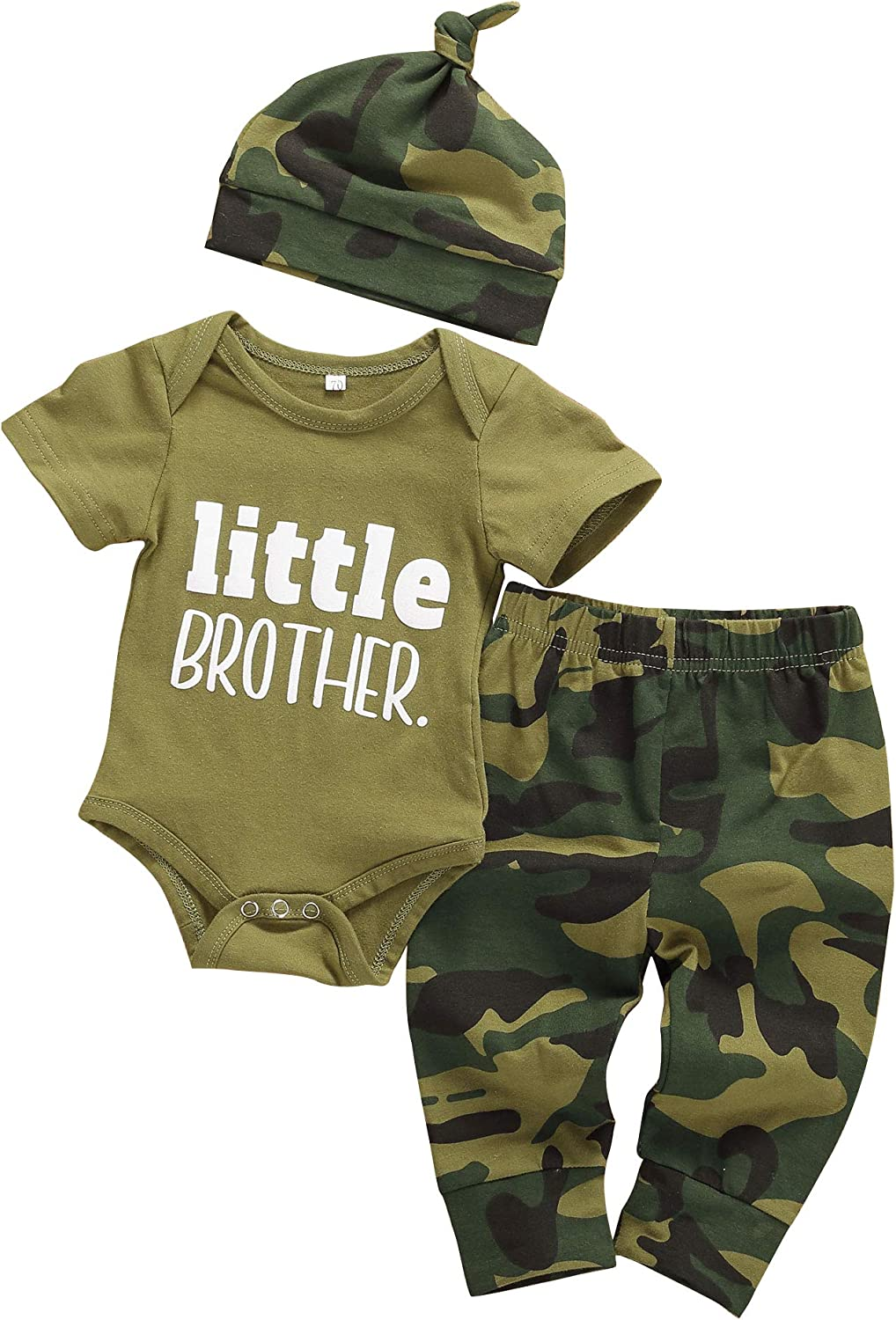 3Pcs Baby Boys Little Brother Clothes Dinosaur Camouflage Pants+Hats Romper Newborn Boy Outfit Set