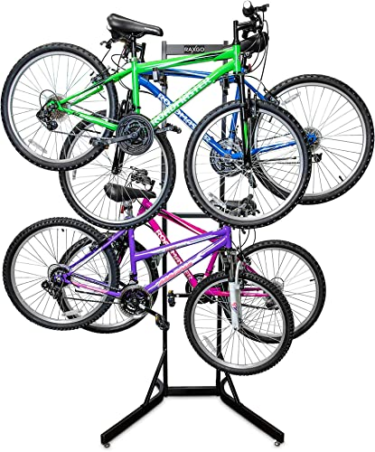 discount RaxGo Bike Garage Storage Rack, 4 Bicycle Garage Floor Stand, Adjustable, Freestanding, Adjustable popular online Hooks, For Mountain & Road bicycles, Universal For Indoor Use outlet online sale