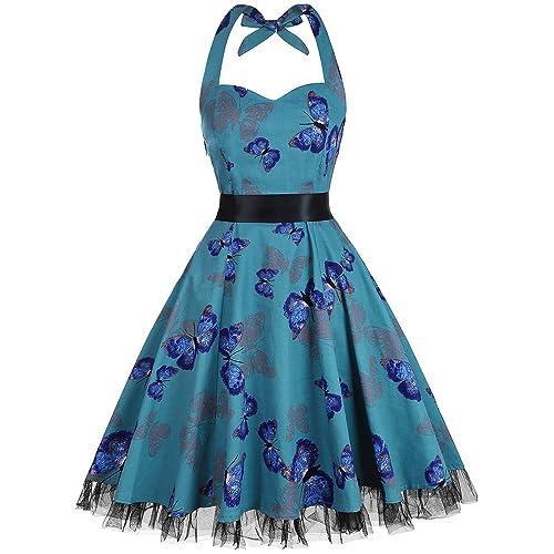 22bed602914 oten Women Vintage Polka Dot Floral 1950s Halter Rockabilly Cocktail Party  Dress