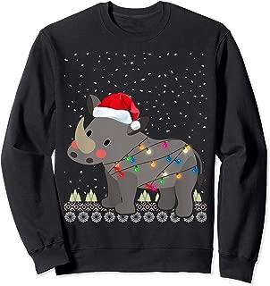 Christmas Chubby Unicorns Fat Rhino Santa Hat Ugly Xmas Tree Sweatshirt