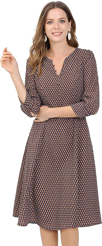 Allegra K Women's Geometric Print 3/4 Sleeve Button Front Work Split V Neck Dress