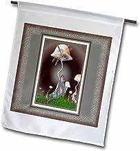 3dRose MOUSE and DRAGONFLY fantasy fairytale magic animal mushroom mystery friendship friends - Garden Flag, 30cm by 46cm
