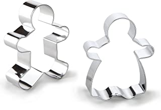 Bakerpan Stainless Steel Cookie Cutter Gingerbread Boy & Girl Set BOX Silver 02029