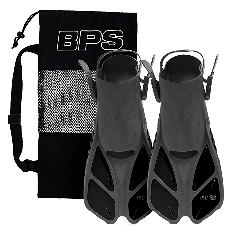 BPS Short-Blade Adjustable Swim Fins/Flippers for?Swimming, Diving,?and?Snorkeling?(Open-Toe and Open-Heel Design)