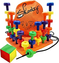 Skoolzy Peg Board Set - Montessori Toys for Toddlers, Preschool Kids | 30 Lacing Pegs for Learning Games, Dice Colors Sort...