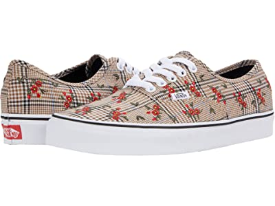 Vans Authentic ((Glen Plaid Floral) Embroidery/True White) Skate Shoes