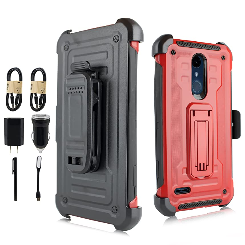 LG K30 Case,LG K10 2018 Case, Kick-Stand Rugged Heavy Duty Case Holster Belt Clip LG K30, LG K10 2018 [Value Pack](Red)
