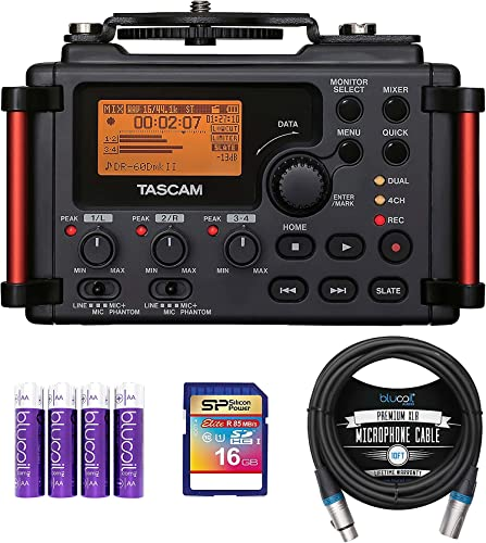 2021 TASCAM DR-60DMKII 4-Channel Portable Audio outlet sale Recorder for DSLR Bundle with 16GB SDHC Memory Card, Blucoil 10-FT popular Balanced XLR Cable, and 4 AA Batteries outlet online sale