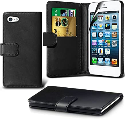 Apple iPhone 5/5S/5SE Case, DN-TECHNOLOGY® BLACK iPhone 5/5S/5SE Phone Cover, High Quality Leather [Flip Case][Stand Case] [Book Wallet Case] [Full Body Case] [Card Holder Case] [Shockproof Case] [Back Cover][Leather Wallet Case] With ID Holder Case For Apple iPhone5/5S/5SE (Compatible With iPhone 5/5S/5SE Screen Protector)