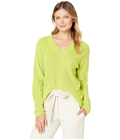 Vince Camuto Long Sleeve Ribbed V-Neck Pullover Sweater (Lime Chrome) Women