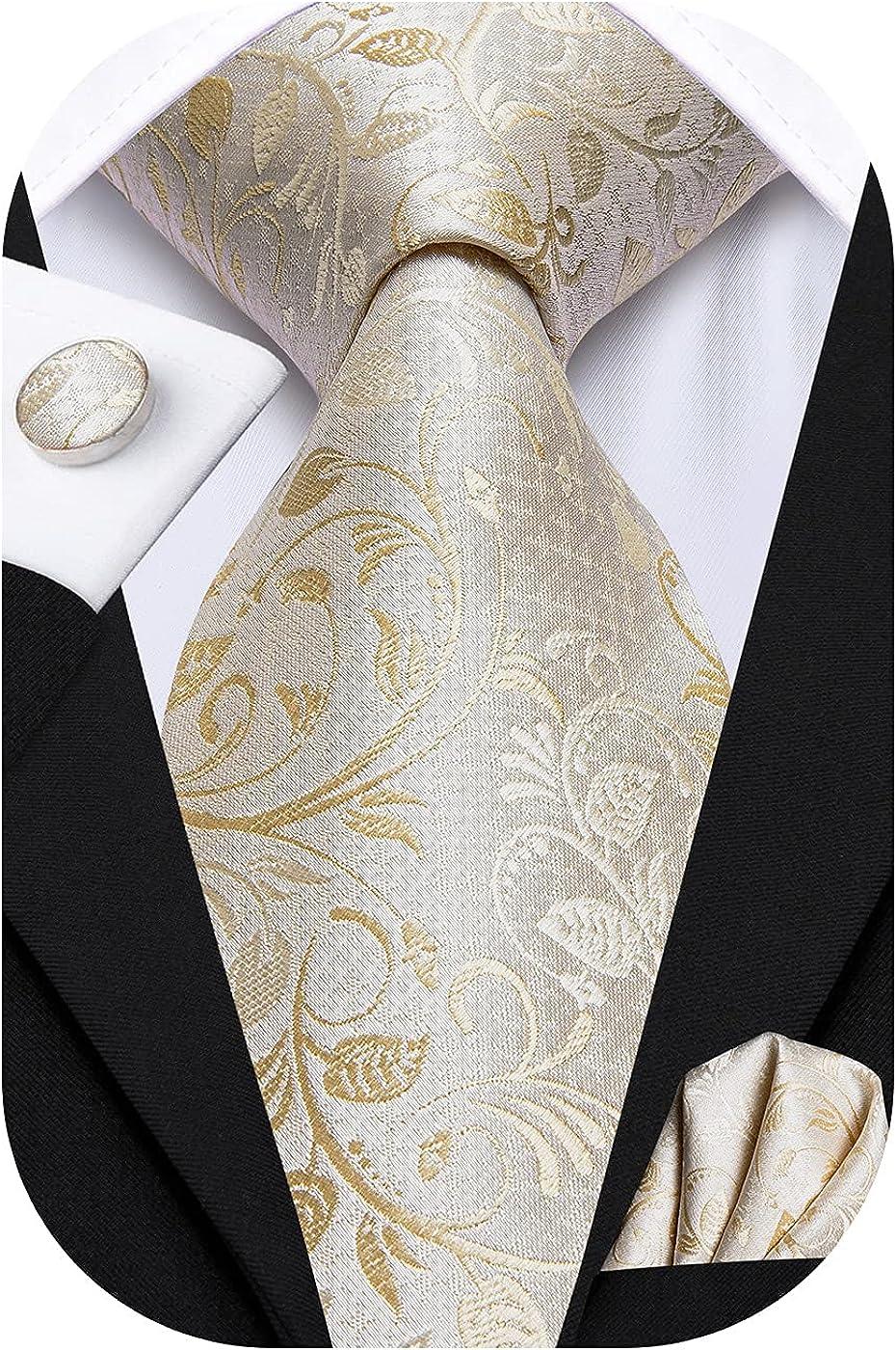 Hi-Tie Silk Paisley Necktie and Pocket Square Cufflinks Set