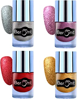 Beromt Sand Nail Polish, Matte nail paint, texture nail polish Combo Set of 4, 10 ml Each-Silver, Gold, Red, Pink