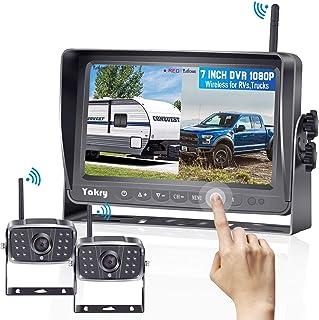 Yakry Y28 FHD 1080P Digital Wireless 2 Backup Camera for RVs,Trailers,Trucks,Motorhomes,5th Wheels 7'' Touch Key Monitor w... photo