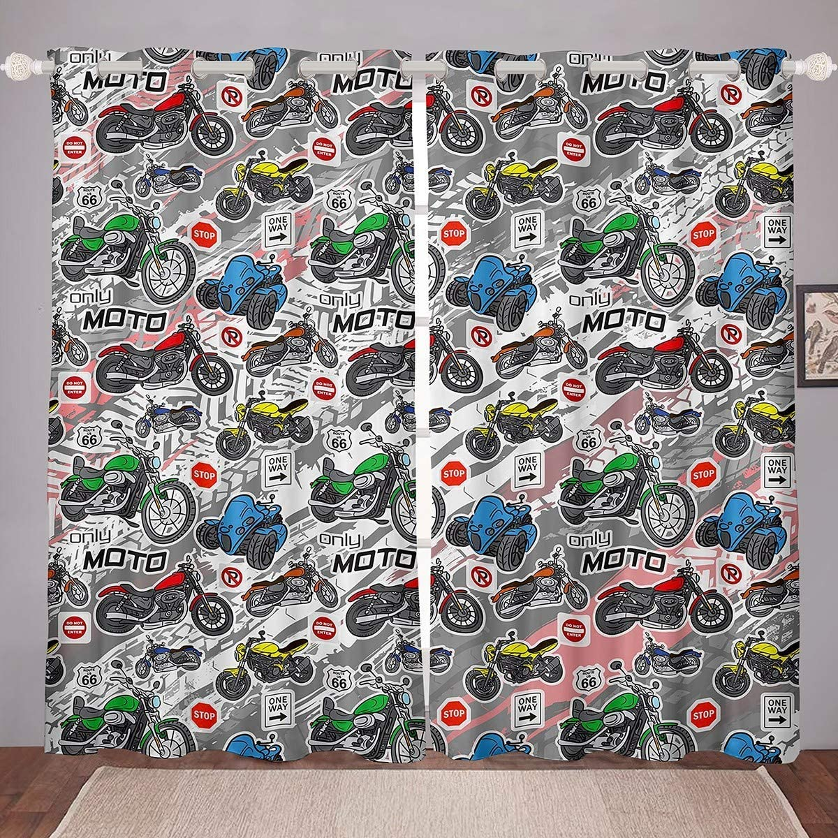 Popular standard Boys Motocross Curtains Great interest Extreme Sports f Window Theme Treatments