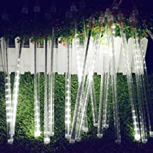 SOCO LED Outdoor Lights 8 Tube Meteor Shower Rain Lights Solar Powered Icicle Raindrop Snow Falling Lights Cascading Lighting for Garden Christmas Patio Holiday Wedding Party Decoration (White)
