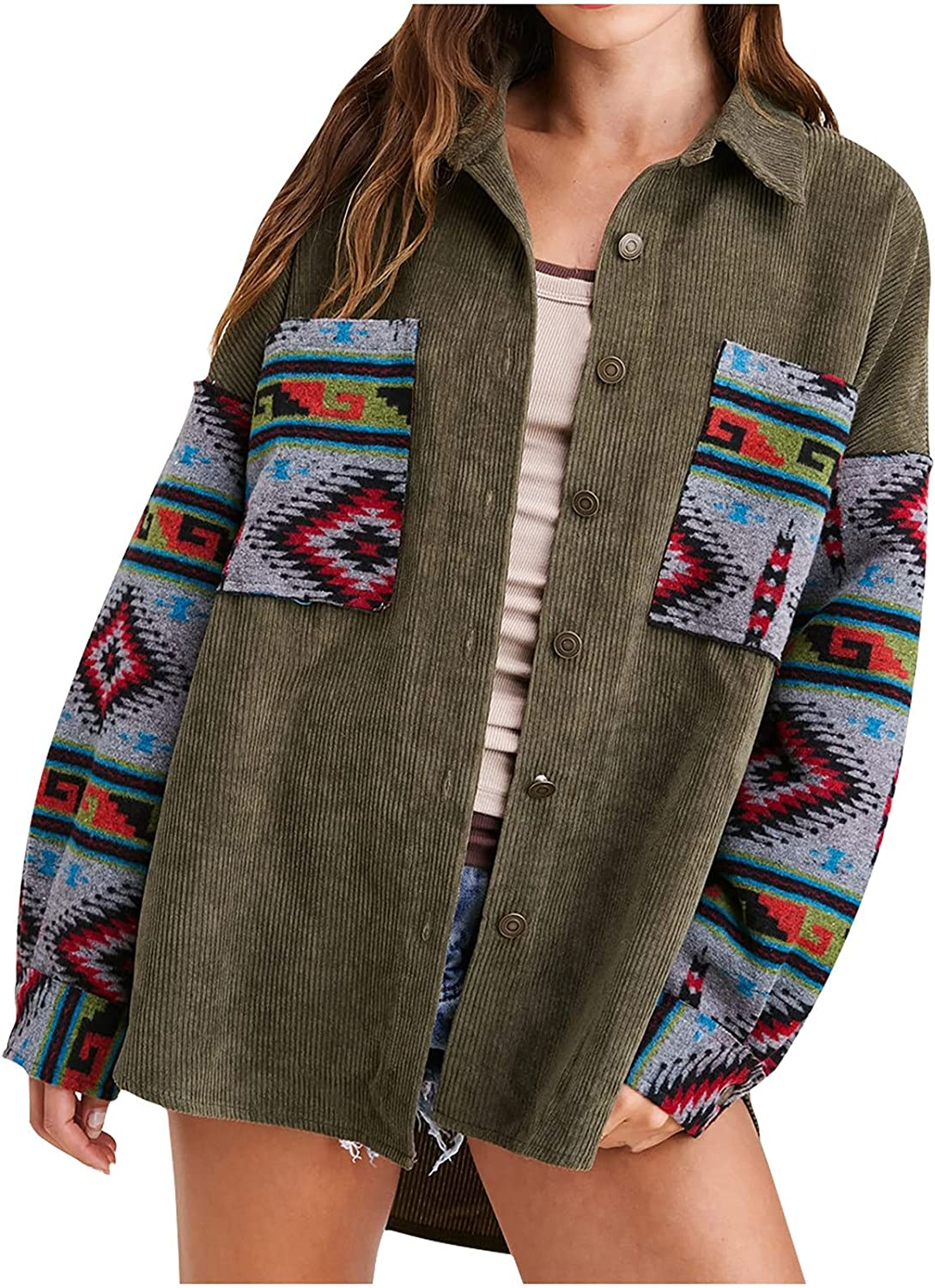 Corduroy Popularity Coat for Women Bargain Pattern T Breasted Patchwork Single