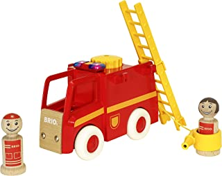 Brio World - 30383 My Home Town Light & Sound Firetruck | 5 Piece Firetruck Toy with Accessories for Kids Ages 18 Months and Up