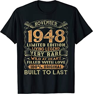 Vintage 71 Years Old November 1948 71st Birthday Gift Ideas T-Shirt