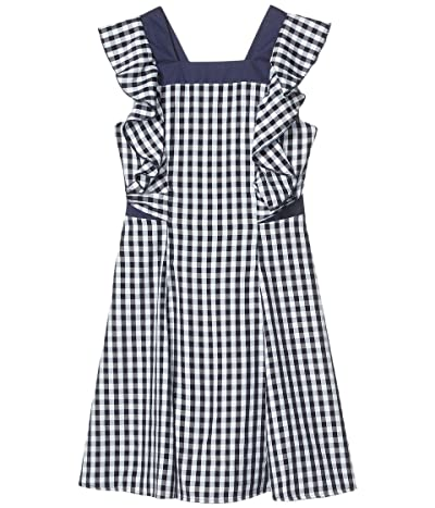 BCBG Girls Gingham Cross-Back Ruffle Dress (Big Kids) (Dark Navy) Girl