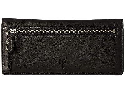 Frye Demi Slim Wallet (Black Antique Soft Vintage) Wallet Handbags