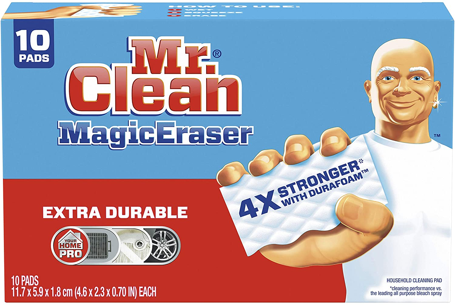 Mr Clean Magic Eraser Extra Durable, Cleaning Pads with Durafoam, 10 Count : Health & Household