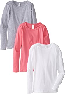 Clementine Apparel 3-Pack Big Girls Tween Youth Crew Neck Long Sleeve T Shirts