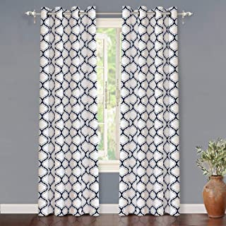 DriftAway Geo Trellis Room Darkening Thermal Insulated Grommet Unlined Window Curtain Drapes Pair for Living Room Bedroom Set of 2 Panels Each 52 by 84 Inch Navy