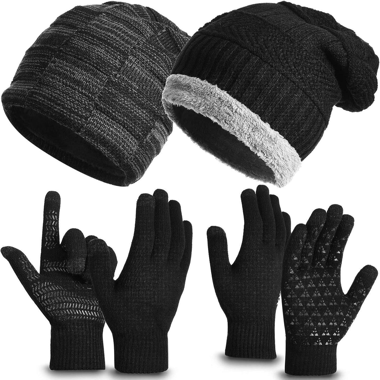 Winter Warmer Set Beanie Hats Gloves Set Knit Cap Touch Screen Gloves