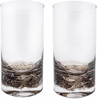 NÄU Zone Jovian Collection Highball Glasses [Set of 2]: Beautiful Hand-Blown 12-oz Cocktail Glasses, Perfect for Cocktails, Water, Beer, Juice, or Any Mixed Drink - [Charcoal]