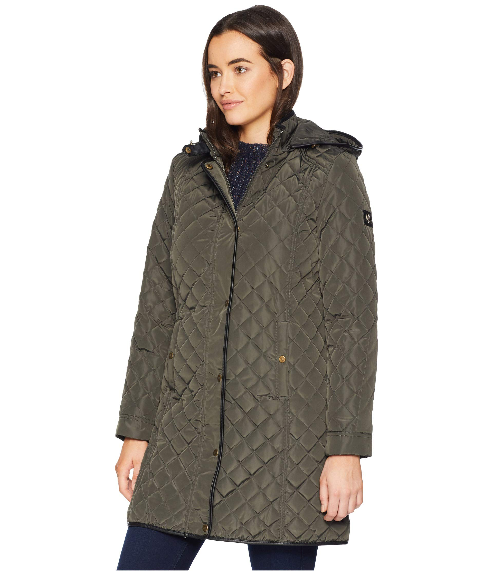 Tab Moss W Dark Hooded Quilt 4 3 Leather Ralph Lauren Faux 4vqZAA