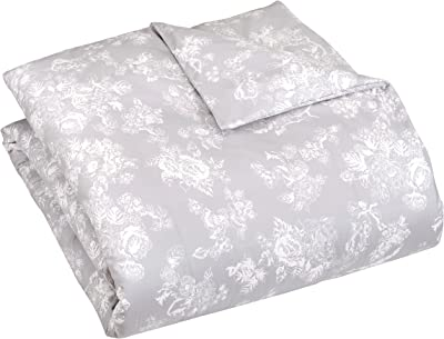 Pinzon Flannel Duvet Cover - Full or Queen, Floral Grey