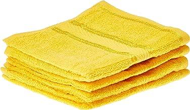 Panache Exports Mystical Face Towel Set, Yellow, 30 cm x 30 cm, PEMYSFAC01, 4 Pieces