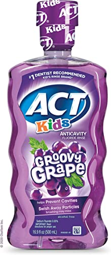 ACT Kids Anticavity Fluoride Rinse With 16.9 fl. oz., Accurate Dosing Cup, Alcohol Free, Groovy Grape
