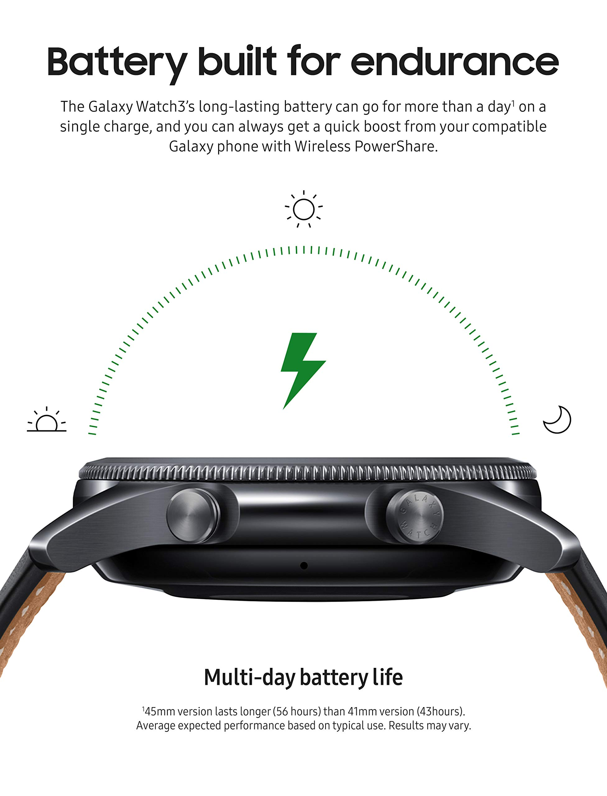 SAMSUNG Galaxy Watch 3 (45mm, GPS, Bluetooth, Unlocked LTE) Smart Watch with Advanced Health Monitoring, Fitness Tracking, and Long Lasting Battery - Mystic Black (US Version)