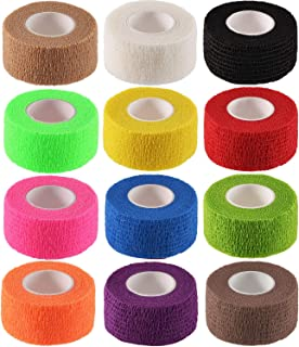 "DC QZHMKJ PET Self Adherent Cohesive Wrap Bandages,Athletic Elastic Cohesive Bandage for Sports Injury,Ankle, Knee & Wrist,Ankle Sprains & Swelling,12-Pack, 1"" x 5 Yards"