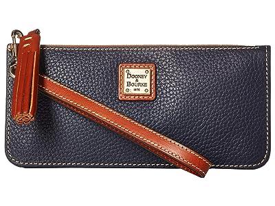 Dooney & Bourke Pebble Tatum Wristlet (Midnight Blue/Tan Trim) Wristlet Handbags