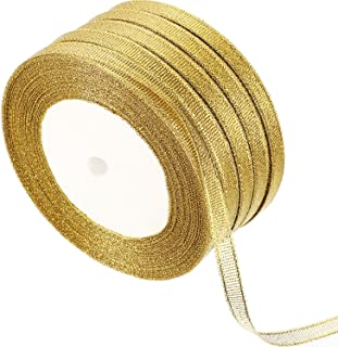 Gejoy 5 Rolls 0.24 inch Glitter Ribbons Metallic Ribbons for Crafters Gifts Wrapping Decorations DIY Crafts Arts (Gold Ribbons)