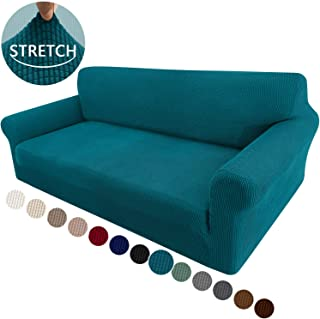 Granbest High Stretch Sofa Covers for Oversized Cushion Couch 1-Piece Sofa Covers Jacquard Spandex Sofa Slipcover Furniture Protector with Elastic Bottom (X-Large, Blackish Green)