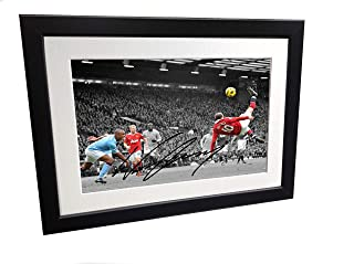 12x8 A4 Signed Wayne Rooney Overhead Goal Manchester United Autographed Photo Photograph Picture Frame Football Soccer Poster Gift