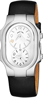 Philip Stein Signature Womens Natural Frequency Technology Watch - Classic White Face Dual Time Zone Ladies Watch - Black Satin Leather Band Analog Quartz Stainless Steel Fashion Watches for Women