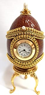 Handmade Faberge Egg Russian Brown Clock Jewelled Authentic Goose Egg Antique Trinket Jewelry Box Hand Decorated Pearl and 24K Gold Collectible Fabrege Ornament 5.9
