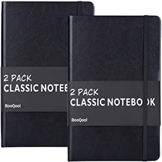 2 Pack Classic Ruled Notebooks/Journals - Premium Thick Paper Faux Leather Writing Notebook, Black, Hard Cover, Large, Lined (5.4 x 8.3)