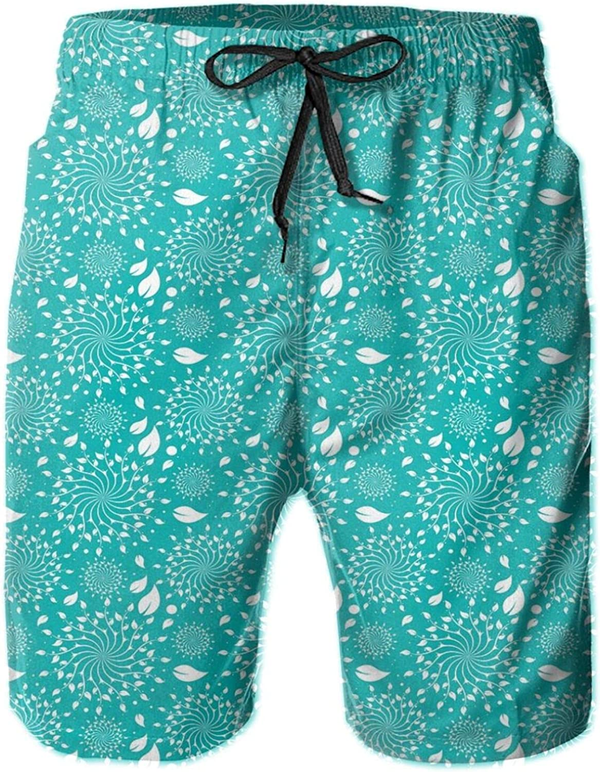 Blossoming Nature Theme Swirls Vortex Leaves Stalks and Dots Vintage Pattern Swimming Trunks for Men Beach Shorts Casual Style,XL