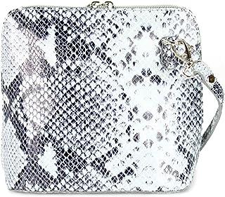 Belli italienische Ledertasche Damen Umhängetasche klein Handtasche Schultertasche Abendtasche schwarz weiß Snake - 17x16,...