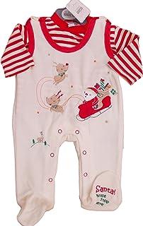 BNWT Tiny Baby Unisex Christmas Velour 2 Piece Sleepsuit Clothes NB 0-3M 3-6 M