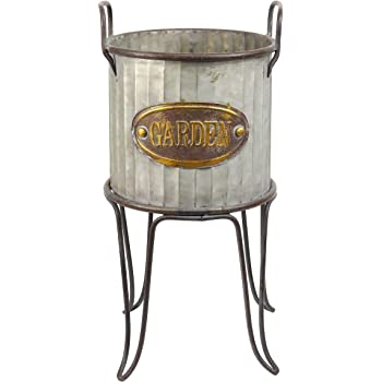 """Alpine Corporation 16"""" Tall Outdoor Small Metal Flower Can Planter with Stand"""