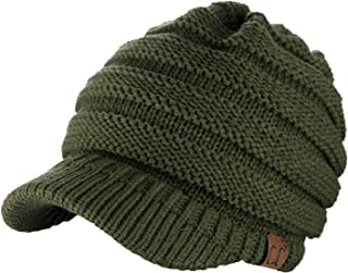 C.C Warm & Thick Cable Knitted Brim Visor Beanie Cap
