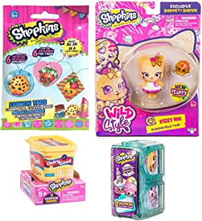 Kitten Shopper Kissy Boo Fluffy Shoppet Wild Style Figure Mini Bundle 4 Items + 1 Grocery Bundled with World Vacation Twin Room & Fashion Tag Blind Bag Fun Toy