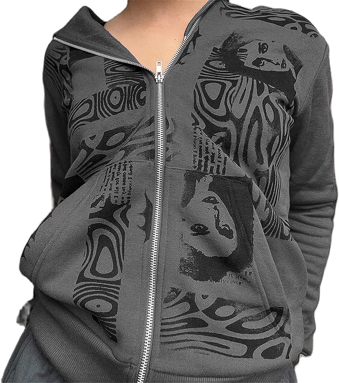Women Y2K Zip Up Hoodie Vintage Graphic Portrait Printing Sweatshirt E-Girl 90s Streetwear Jacket with Pockets